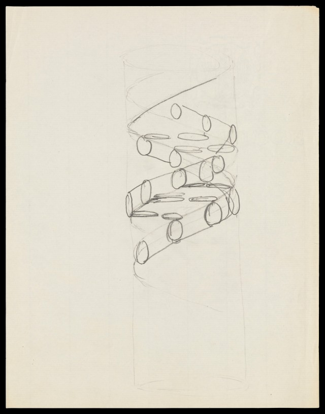 L0051225 Pencil sketch of the DNA double helix by Francis Crick